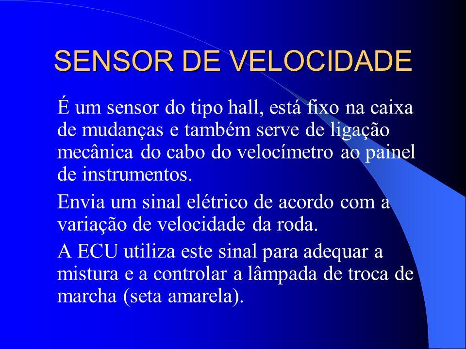 SENSOR DE VELOCIDADE É um sensor do tipo hall, está fixo na caixa de mudanças e também serve de ligação mecânica do cabo do velocímetro ao painel de i