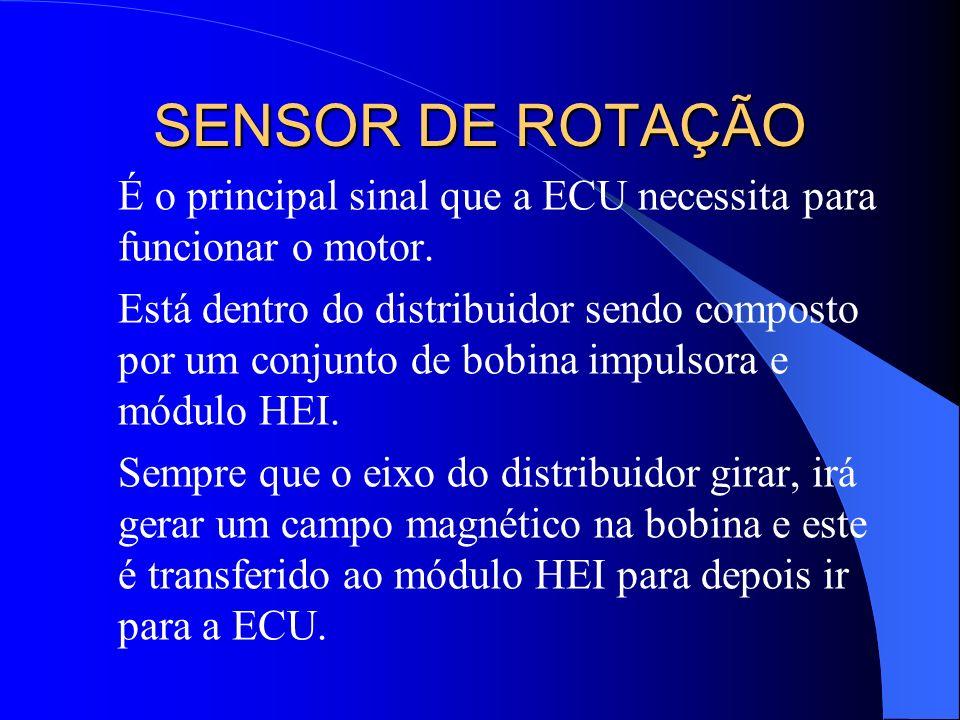 SENSOR DE ROTAÇÃO É o principal sinal que a ECU necessita para funcionar o motor. Está dentro do distribuidor sendo composto por um conjunto de bobina