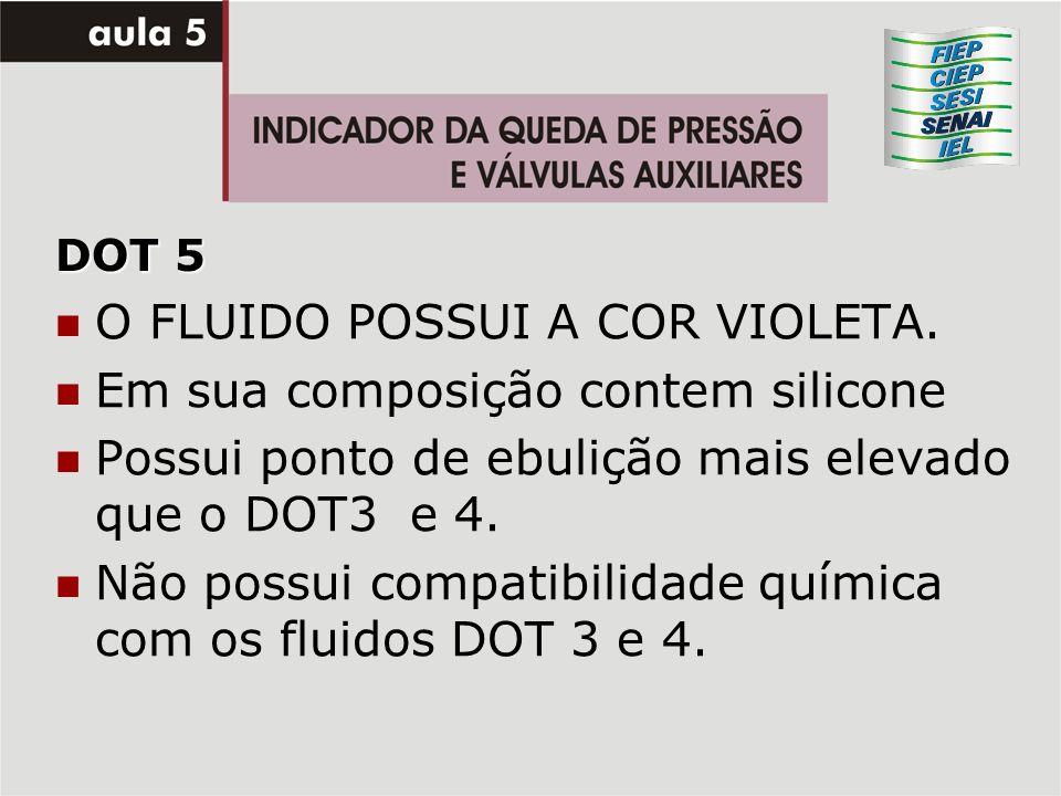 DOT 5 O FLUIDO POSSUI A COR VIOLETA. Em sua composição contem silicone Possui ponto de ebulição mais elevado que o DOT3 e 4. Não possui compatibilidad