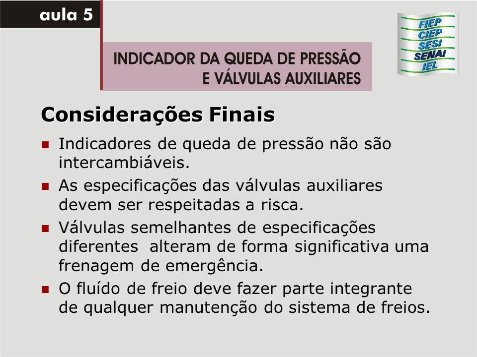 Considerações Finais Indicadores de queda de pressão não são intercambiáveis. As especificações das válvulas auxiliares devem ser respeitadas a risca.
