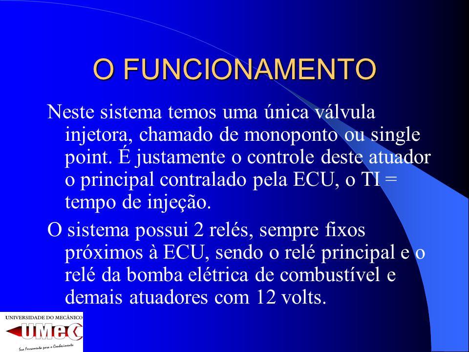 O FUNCIONAMENTO Neste sistema temos uma única válvula injetora, chamado de monoponto ou single point. É justamente o controle deste atuador o principa