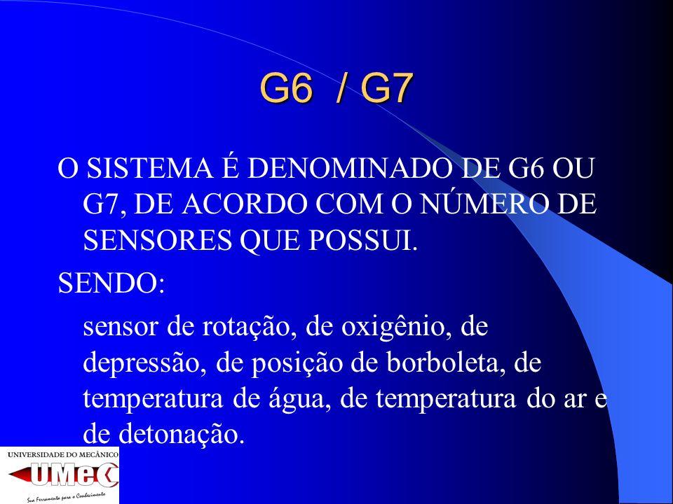 G6 / G7 O SISTEMA É DENOMINADO DE G6 OU G7, DE ACORDO COM O NÚMERO DE SENSORES QUE POSSUI. SENDO: sensor de rotação, de oxigênio, de depressão, de pos