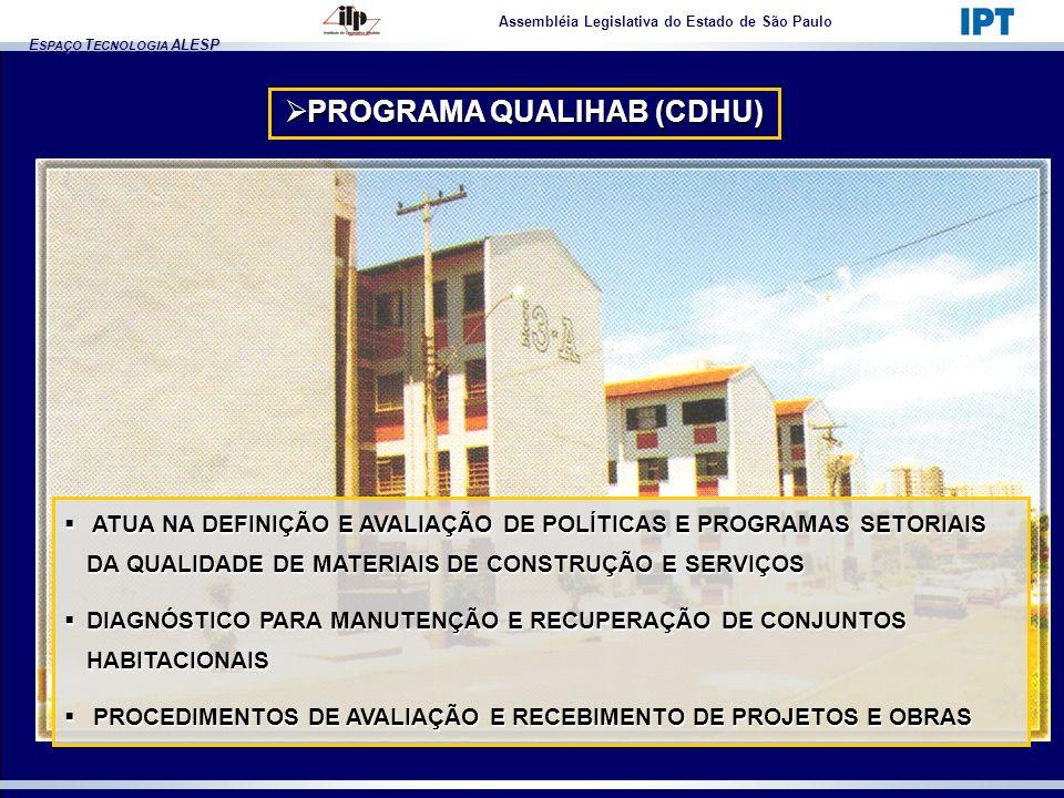 E SPAÇO T ECNOLOGIA ALESP Assembléia Legislativa do Estado de São Paulo PROGRAMA QUALIHAB (CDHU) PROGRAMA QUALIHAB (CDHU) ATUA NA DEFINIÇÃO E AVALIAÇÃ