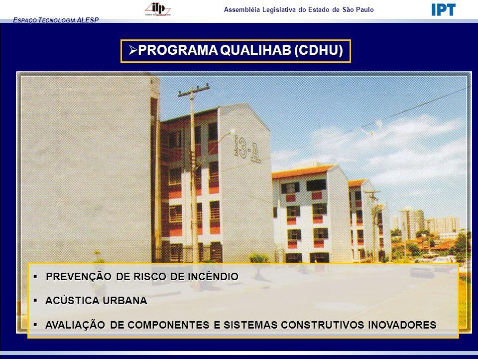E SPAÇO T ECNOLOGIA ALESP Assembléia Legislativa do Estado de São Paulo PROGRAMA QUALIHAB (CDHU) PROGRAMA QUALIHAB (CDHU) PREVENÇÃO DE RISCO DE INCÊND