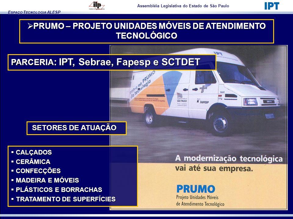 E SPAÇO T ECNOLOGIA ALESP Assembléia Legislativa do Estado de São Paulo PRUMO – PROJETO UNIDADES MÓVEIS DE ATENDIMENTO TECNOLÓGICO PRUMO – PROJETO UNI