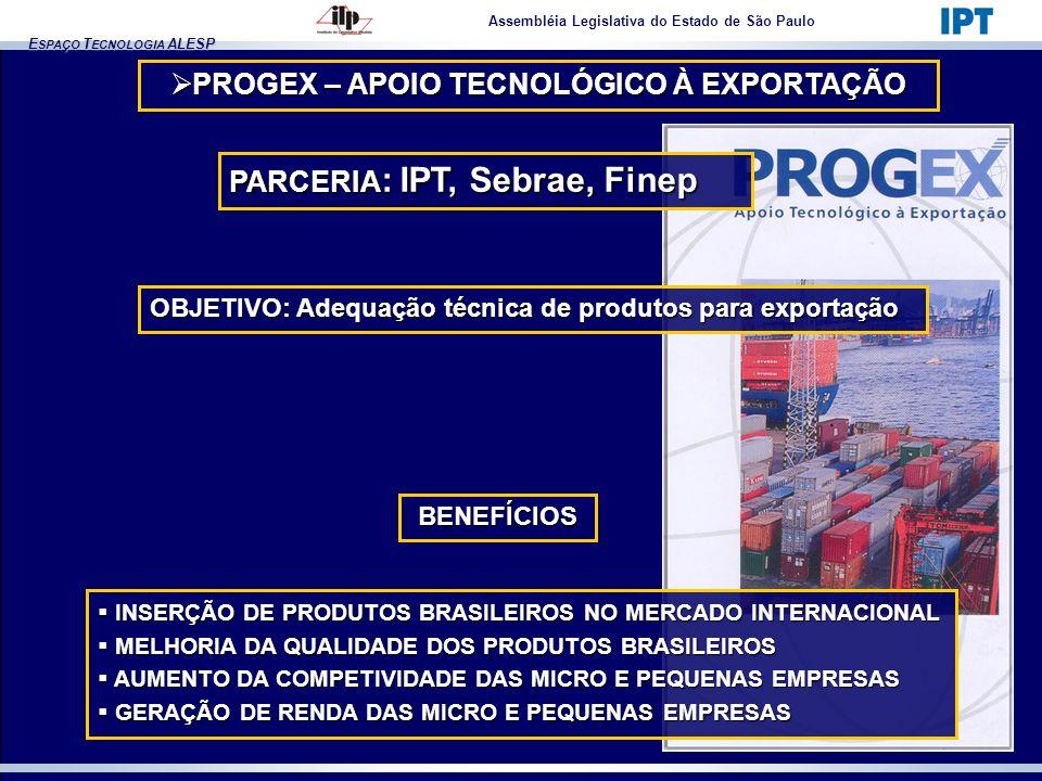 E SPAÇO T ECNOLOGIA ALESP Assembléia Legislativa do Estado de São Paulo PROGEX – APOIO TECNOLÓGICO À EXPORTAÇÃO PROGEX – APOIO TECNOLÓGICO À EXPORTAÇÃ