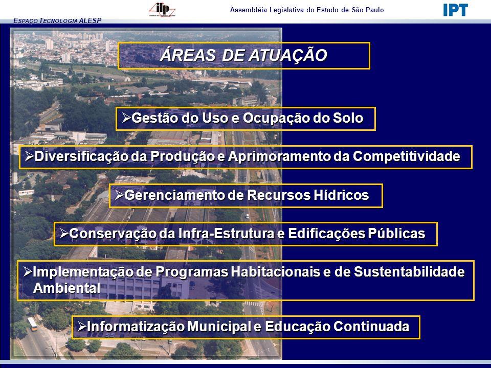 E SPAÇO T ECNOLOGIA ALESP ÁREAS DE ATUAÇÃO Assembléia Legislativa do Estado de São Paulo Conservação da Infra-Estrutura e Edificações Públicas Conserv