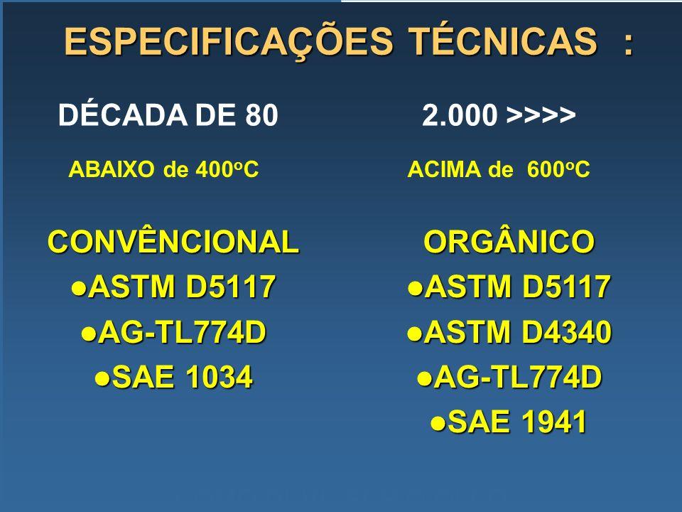 CONVÊNCIONAL ASTM D5117 ASTM D5117 AG-TL774D AG-TL774D SAE 1034 SAE 1034 COMO DEVE SER O ÓLEO ESPECIFICAÇÕES TÉCNICAS : ORGÂNICO ASTM D5117 ASTM D5117
