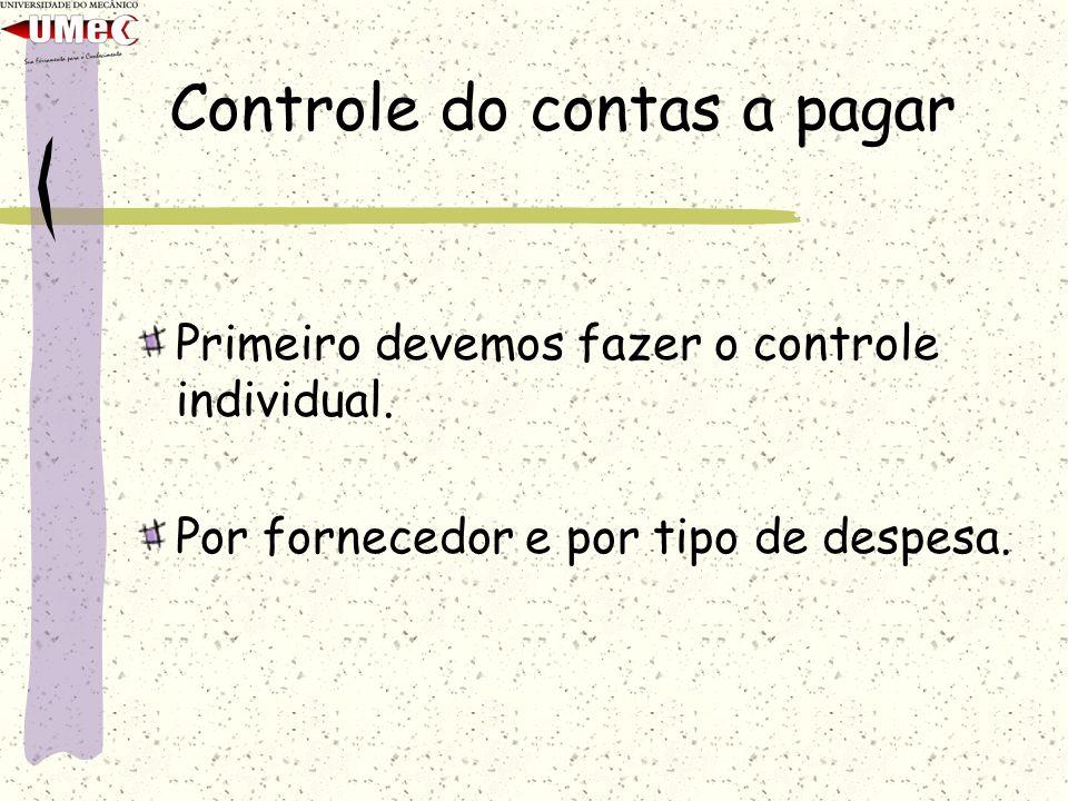 Controle do contas a pagar Primeiro devemos fazer o controle individual. Por fornecedor e por tipo de despesa.