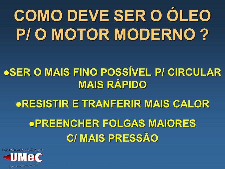 COMO DEVE SER O ÓLEO P/ O MOTOR MODERNO .