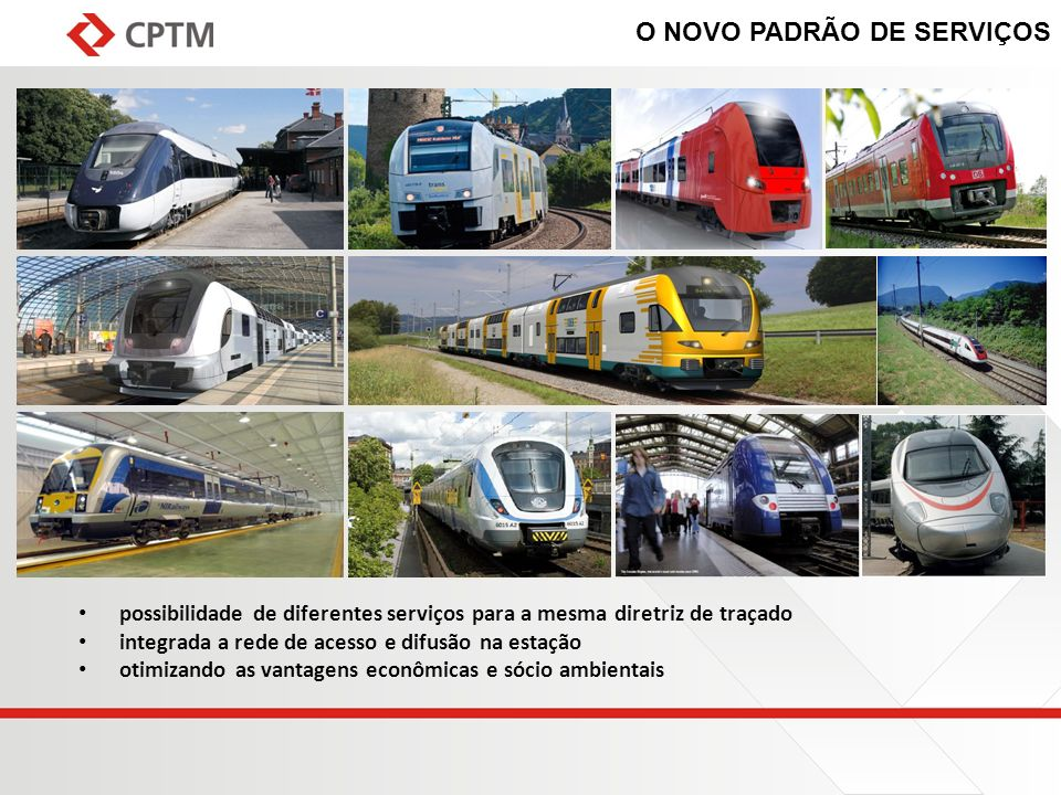 O NOVO PADRÃO DE SERVIÇOS possibilidade de diferentes serviços para a mesma diretriz de traçado integrada a rede de acesso e difusão na estação otimiz