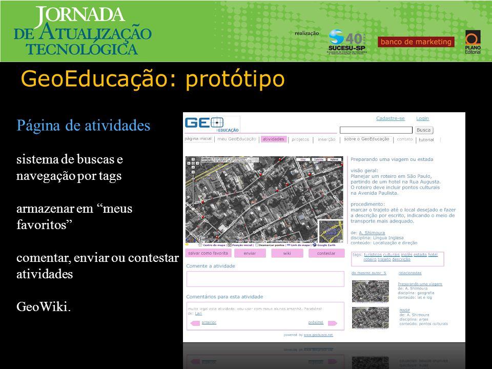 GeoEducação: protótipo Página de atividades sistema de buscas e navegação por tags armazenar em meus favoritos comentar, enviar ou contestar atividades GeoWiki.