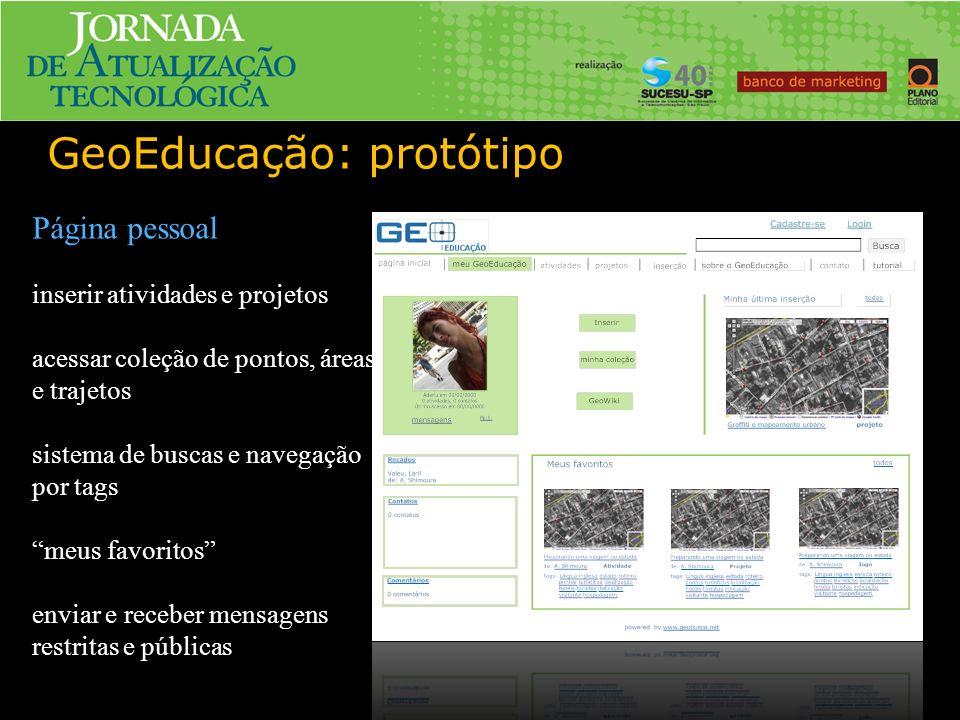 GeoEducação: protótipo Página pessoal inserir atividades e projetos acessar coleção de pontos, áreas e trajetos sistema de buscas e navegação por tags meus favoritos enviar e receber mensagens restritas e públicas