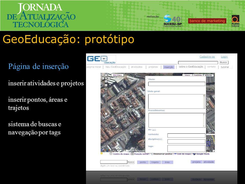 GeoEducação: protótipo Página de inserção inserir atividades e projetos inserir pontos, áreas e trajetos sistema de buscas e navegação por tags