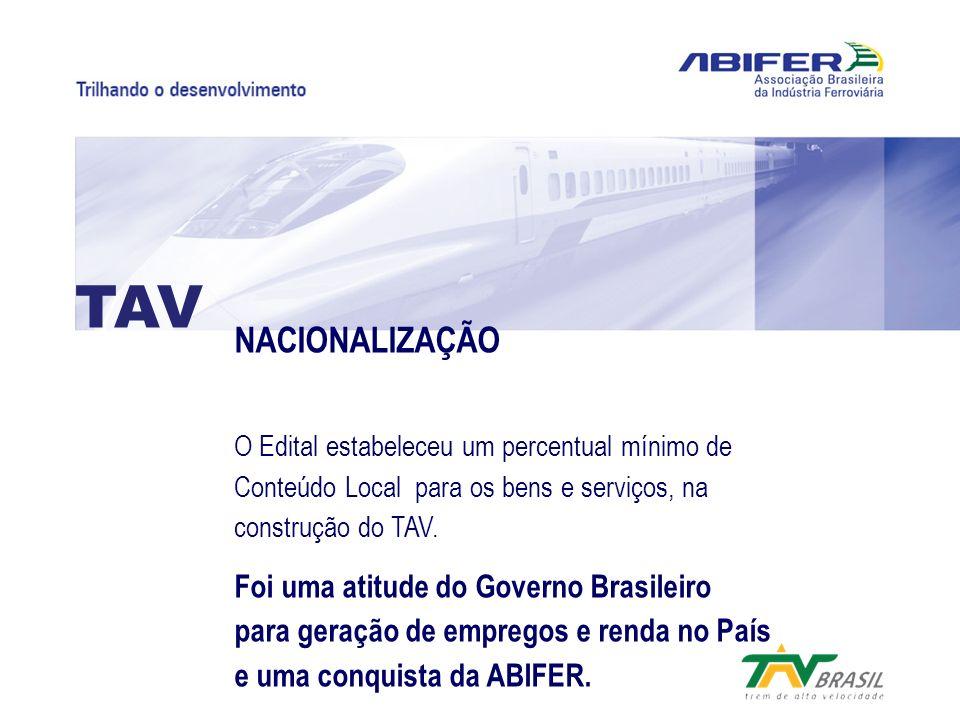 NACIONALIZAÇÃO O Edital estabeleceu um percentual mínimo de Conteúdo Local para os bens e serviços, na construção do TAV. Foi uma atitude do Governo B