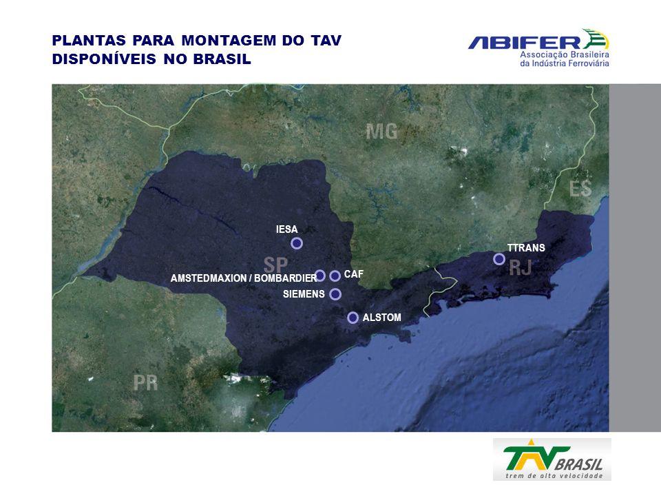 PLANTAS PARA MONTAGEM DO TAV DISPONÍVEIS NO BRASIL IESA AMSTEDMAXION / BOMBARDIER CAF SIEMENS ALSTOM TTRANS