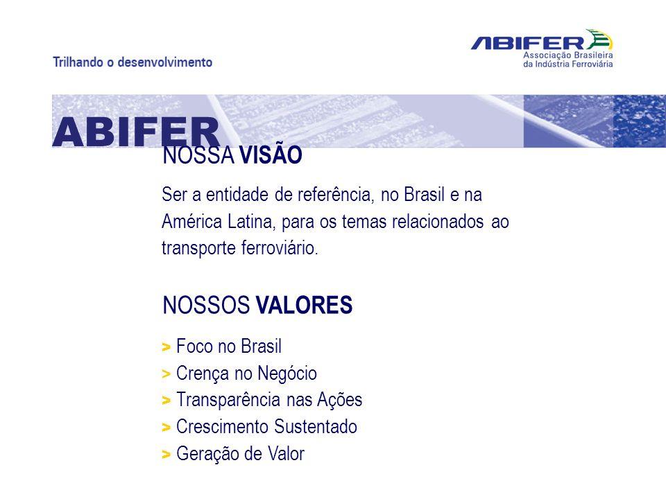 NOSSA VISÃO ABIFER Ser a entidade de referência, no Brasil e na América Latina, para os temas relacionados ao transporte ferroviário. NOSSOS VALORES >