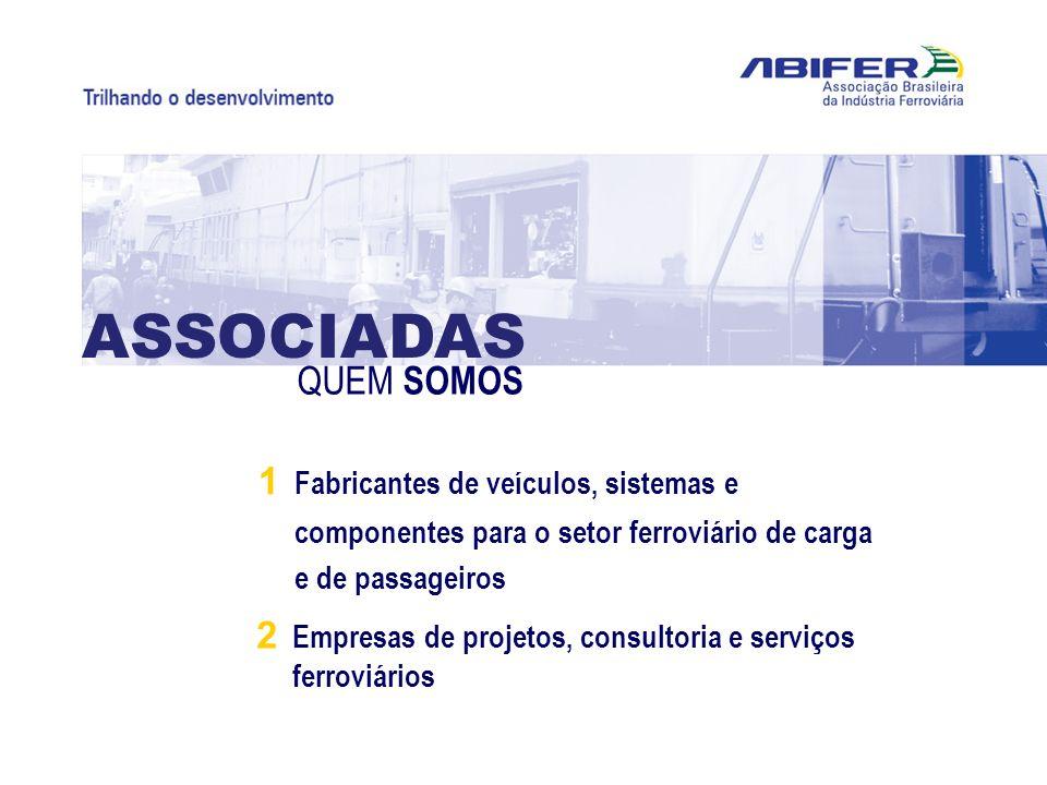 1 Fabricantes de veículos, sistemas e componentes para o setor ferroviário de carga e de passageiros 2 Empresas de projetos, consultoria e serviços fe