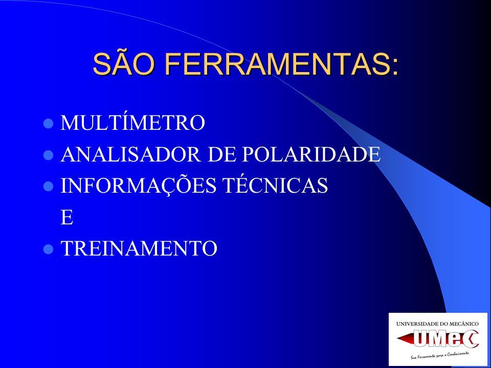 SÃO FERRAMENTAS: MULTÍMETRO ANALISADOR DE POLARIDADE INFORMAÇÕES TÉCNICAS E TREINAMENTO