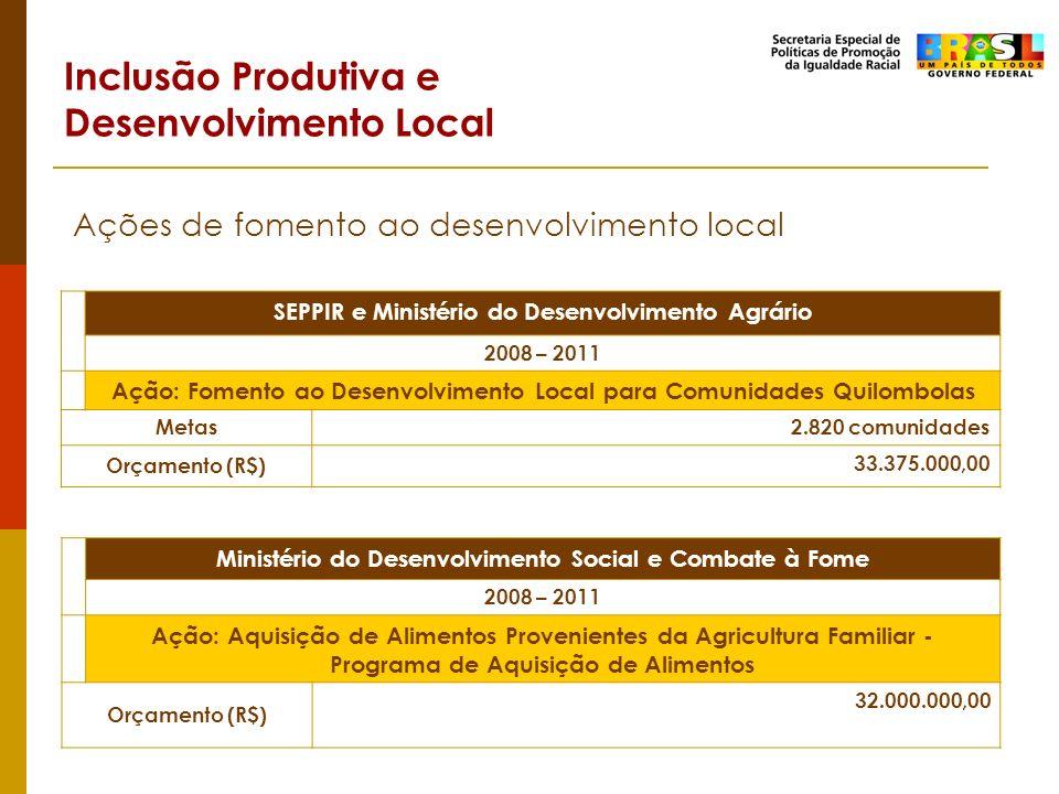 Inclusão Produtiva e Desenvolvimento Local Ações de fomento ao desenvolvimento local SEPPIR e Ministério do Desenvolvimento Agrário 2008 – 2011 Ação: