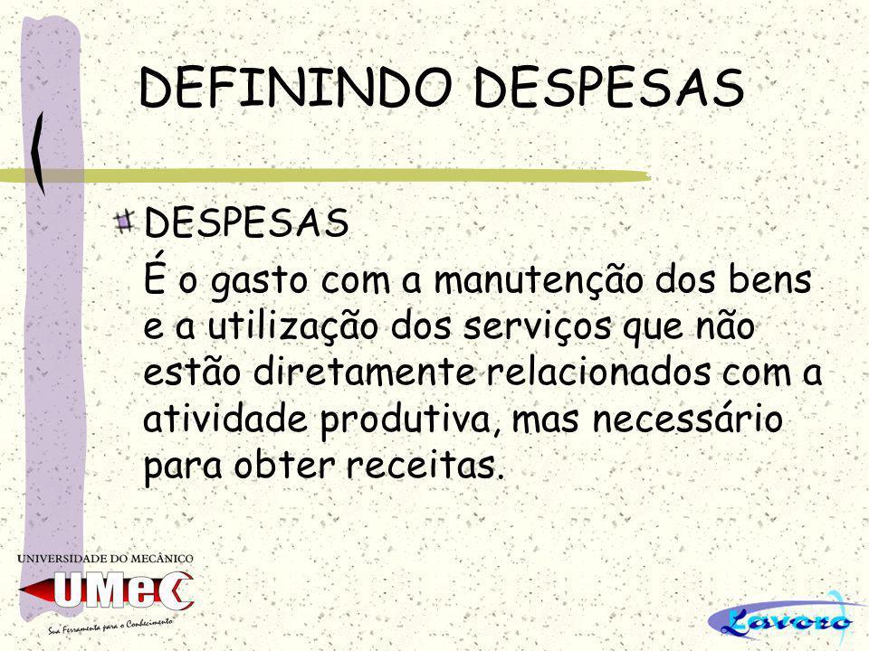 DEFININDO DESPESAS DESPESAS É o gasto com a manutenção dos bens e a utilização dos serviços que não estão diretamente relacionados com a atividade pro