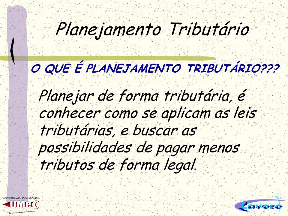 Planejamento Tributário O QUE É PLANEJAMENTO TRIBUTÁRIO??? Planejar de forma tributária, é conhecer como se aplicam as leis tributárias, e buscar as p