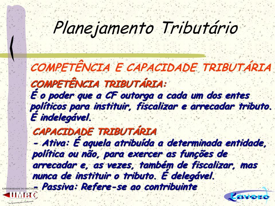 Planejamento Tributário COMPETÊNCIA E CAPACIDADE TRIBUTÁRIA COMPETÊNCIA TRIBUTÁRIA: É o poder que a CF outorga a cada um dos entes políticos para inst