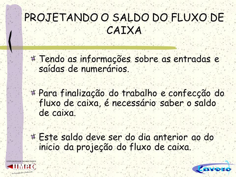 PROJETANDO O SALDO DO FLUXO DE CAIXA Tendo as informações sobre as entradas e saídas de numerários.