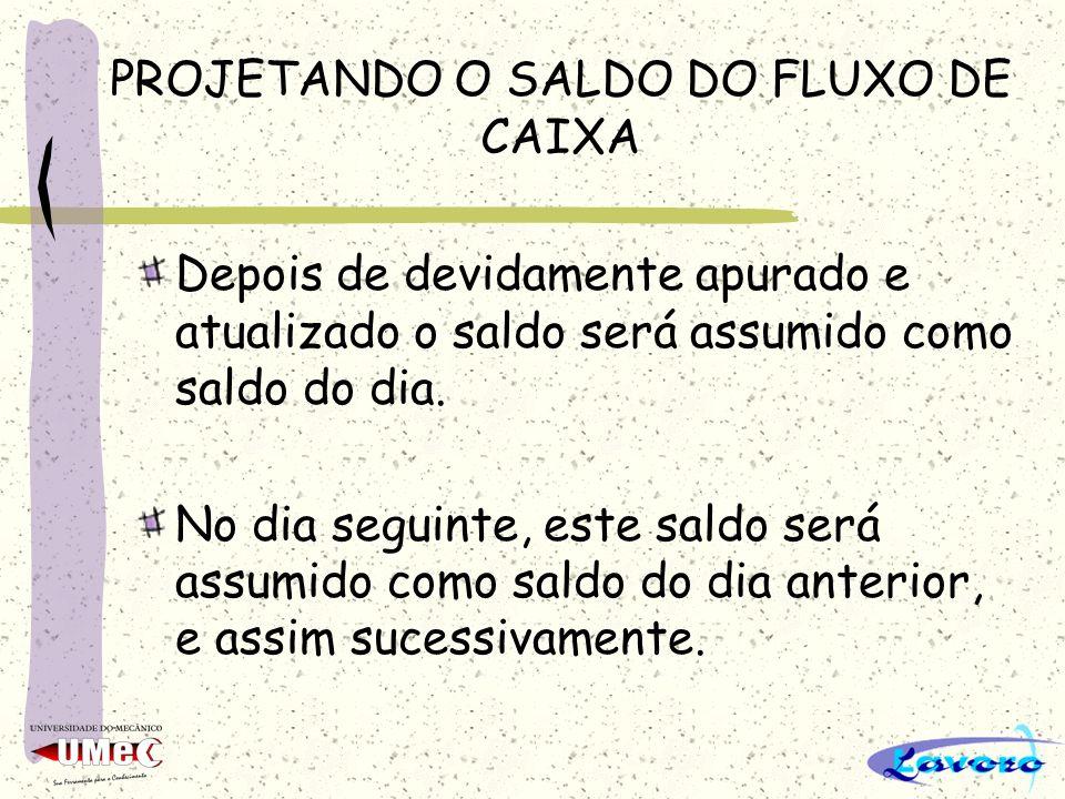 PROJETANDO O SALDO DO FLUXO DE CAIXA Depois de devidamente apurado e atualizado o saldo será assumido como saldo do dia.