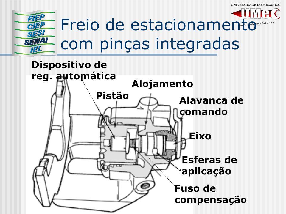 Freio de estacionamento com pinças integradas Fuso de compensação Eixo Alavanca de comando Alojamento Pistão Dispositivo de reg. automática Esferas de