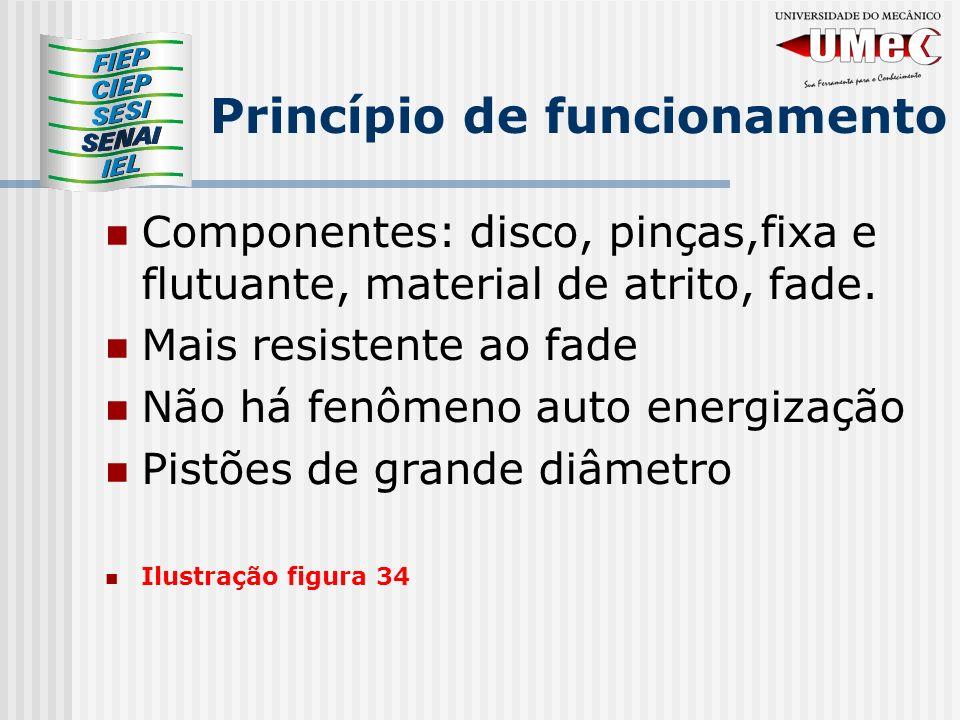 Princípio de funcionamento Componentes: disco, pinças,fixa e flutuante, material de atrito, fade. Mais resistente ao fade Não há fenômeno auto energiz