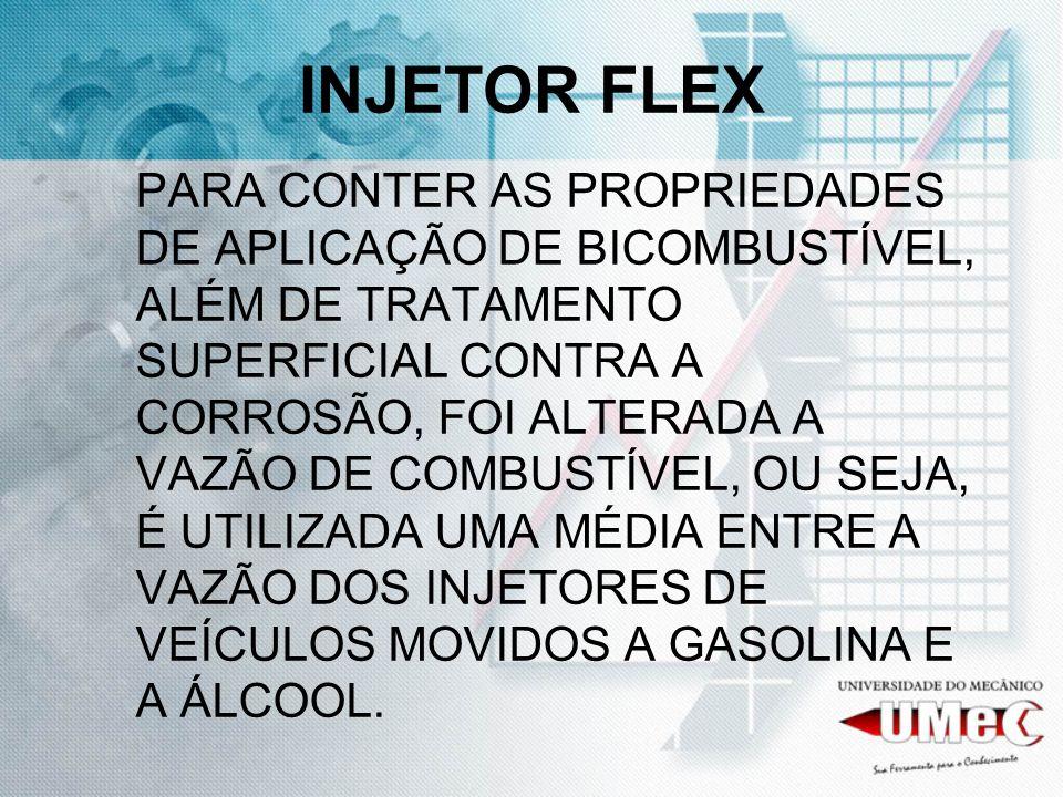 INJETOR FLEX PARA CONTER AS PROPRIEDADES DE APLICAÇÃO DE BICOMBUSTÍVEL, ALÉM DE TRATAMENTO SUPERFICIAL CONTRA A CORROSÃO, FOI ALTERADA A VAZÃO DE COMB
