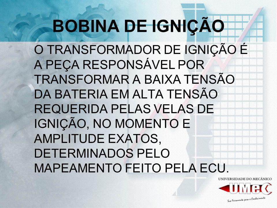 BOBINA DE IGNIÇÃO O TRANSFORMADOR DE IGNIÇÃO É A PEÇA RESPONSÁVEL POR TRANSFORMAR A BAIXA TENSÃO DA BATERIA EM ALTA TENSÃO REQUERIDA PELAS VELAS DE IG