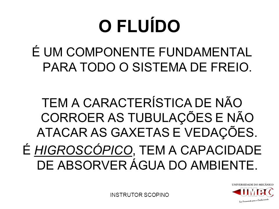 INSTRUTOR SCOPINO O FLUÍDO É UM COMPONENTE FUNDAMENTAL PARA TODO O SISTEMA DE FREIO.