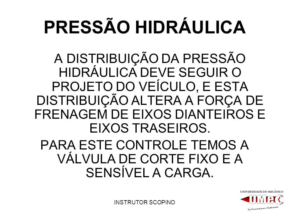 INSTRUTOR SCOPINO PRESSÃO HIDRÁULICA A DISTRIBUIÇÃO DA PRESSÃO HIDRÁULICA DEVE SEGUIR O PROJETO DO VEÍCULO, E ESTA DISTRIBUIÇÃO ALTERA A FORÇA DE FRENAGEM DE EIXOS DIANTEIROS E EIXOS TRASEIROS.