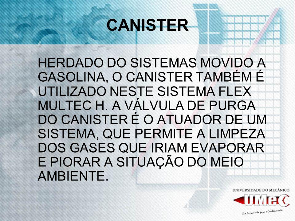 CANISTER HERDADO DO SISTEMAS MOVIDO A GASOLINA, O CANISTER TAMBÉM É UTILIZADO NESTE SISTEMA FLEX MULTEC H. A VÁLVULA DE PURGA DO CANISTER É O ATUADOR