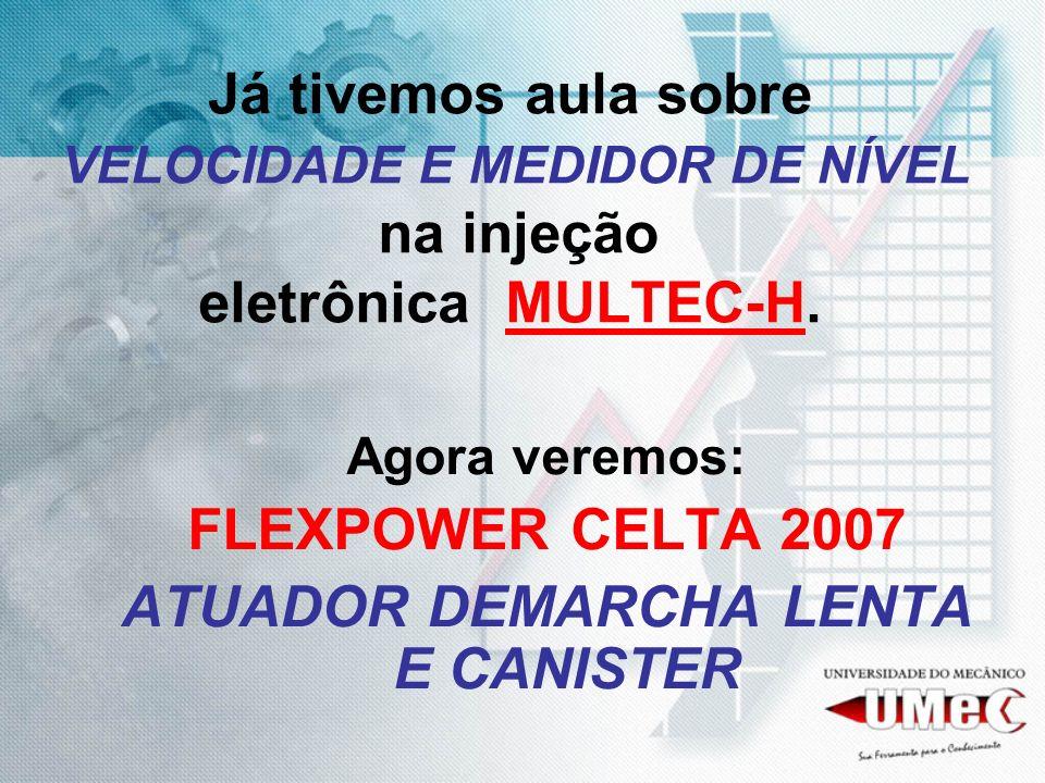 Já tivemos aula sobre VELOCIDADE E MEDIDOR DE NÍVEL na injeção eletrônica MULTEC-H. Agora veremos: FLEXPOWER CELTA 2007 ATUADOR DEMARCHA LENTA E CANIS