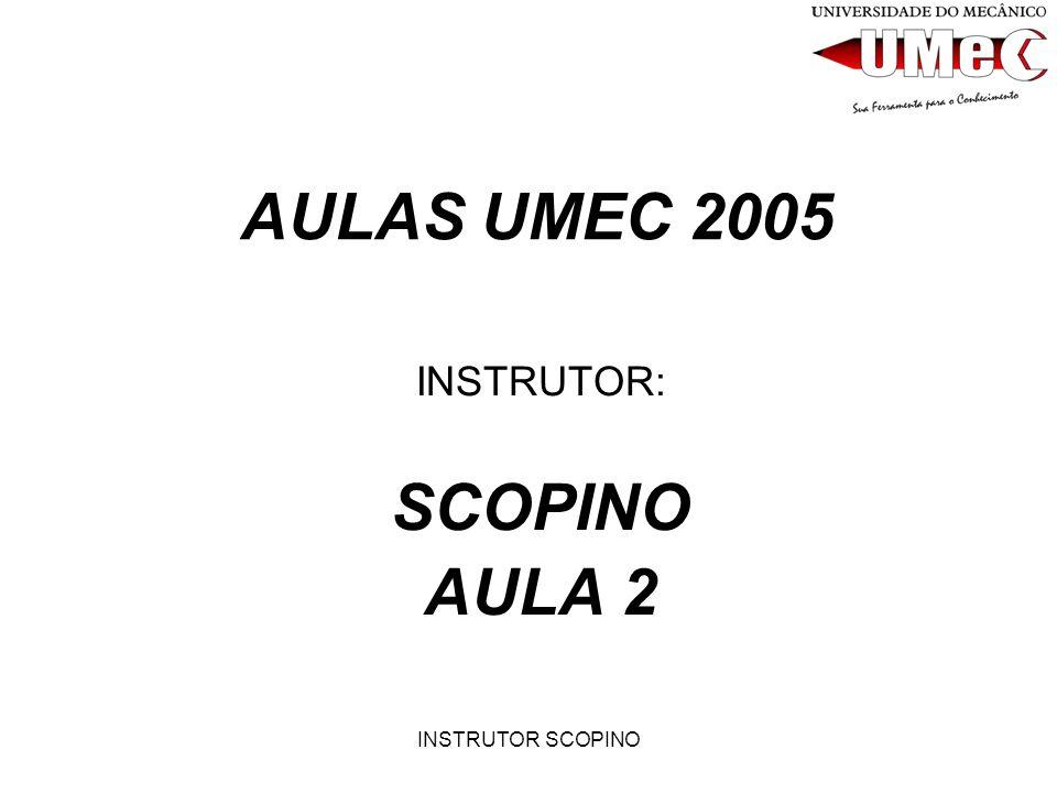 INSTRUTOR SCOPINO AULAS UMEC 2005 INSTRUTOR: SCOPINO AULA 2