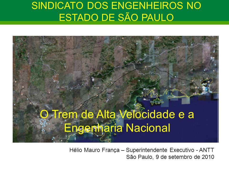 O Trem de Alta Velocidade e a Engenharia Nacional Hélio Mauro França – Superintendente Executivo - ANTT São Paulo, 9 de setembro de 2010 SINDICATO DOS ENGENHEIROS NO ESTADO DE SÃO PAULO