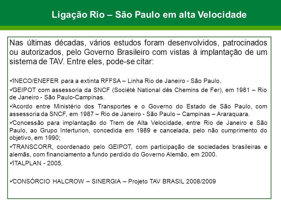 Ligação Rio – São Paulo em alta Velocidade Nas últimas décadas, vários estudos foram desenvolvidos, patrocinados ou autorizados, pelo Governo Brasileiro com vistas à implantação de um sistema de TAV.