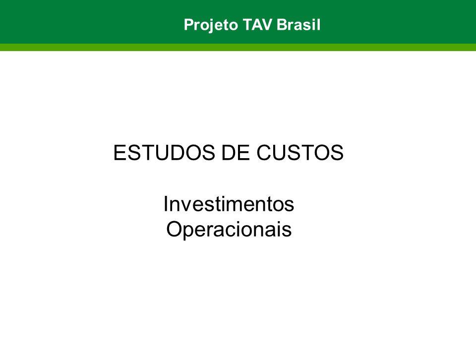 ESTUDOS DE CUSTOS Investimentos Operacionais Projeto TAV Brasil