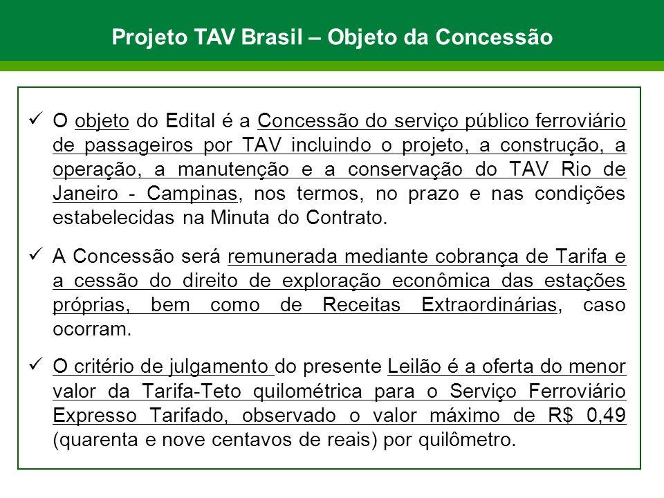 O objeto do Edital é a Concessão do serviço público ferroviário de passageiros por TAV incluindo o projeto, a construção, a operação, a manutenção e a conservação do TAV Rio de Janeiro - Campinas, nos termos, no prazo e nas condições estabelecidas na Minuta do Contrato.