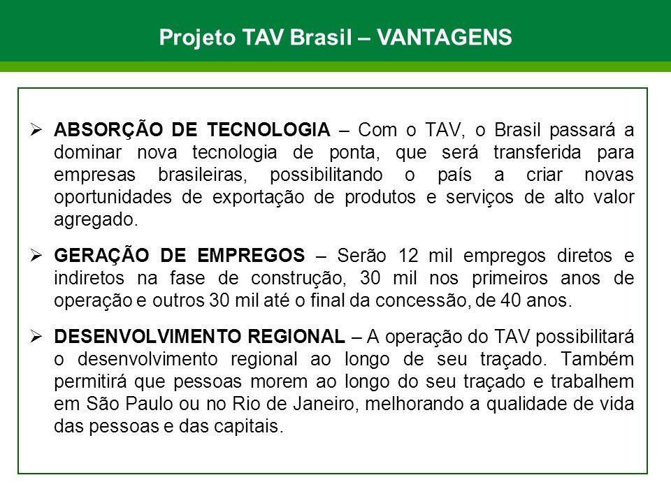 ABSORÇÃO DE TECNOLOGIA – Com o TAV, o Brasil passará a dominar nova tecnologia de ponta, que será transferida para empresas brasileiras, possibilitando o país a criar novas oportunidades de exportação de produtos e serviços de alto valor agregado.