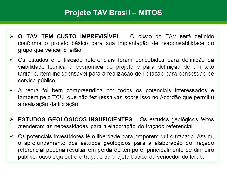 O TAV TEM CUSTO IMPREVISÍVEL – O custo do TAV será definido conforme o projeto básico para sua implantação de responsabilidade do grupo que vencer o leilão.