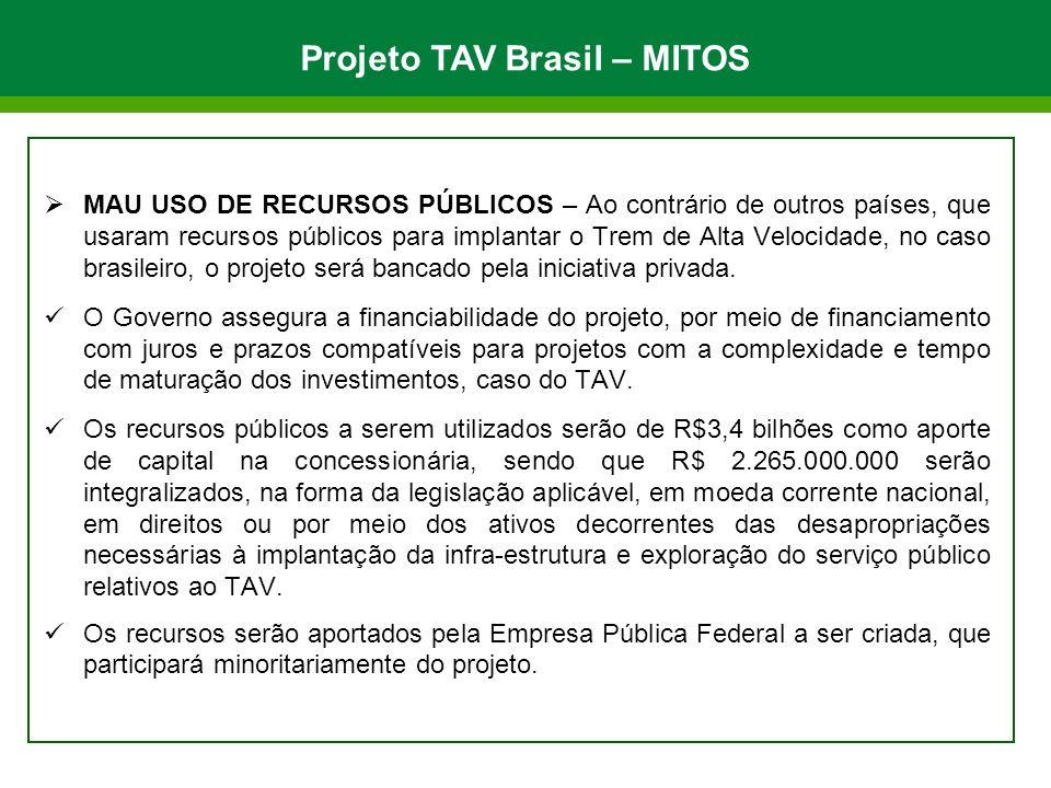 MAU USO DE RECURSOS PÚBLICOS – Ao contrário de outros países, que usaram recursos públicos para implantar o Trem de Alta Velocidade, no caso brasileir