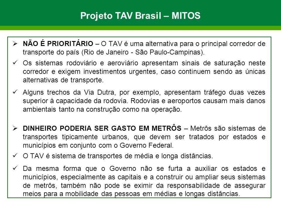 NÃO É PRIORITÁRIO – O TAV é uma alternativa para o principal corredor de transporte do país (Rio de Janeiro - São Paulo-Campinas). Os sistemas rodoviá