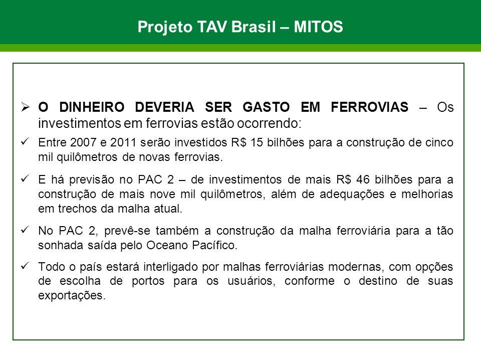 O DINHEIRO DEVERIA SER GASTO EM FERROVIAS – Os investimentos em ferrovias estão ocorrendo: Entre 2007 e 2011 serão investidos R$ 15 bilhões para a con