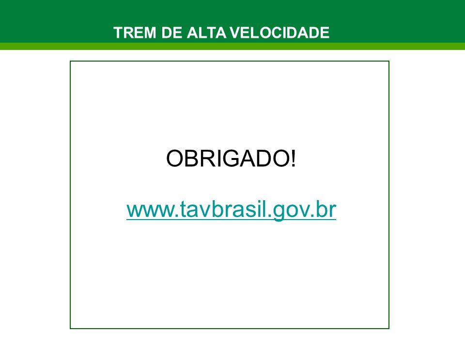 OBRIGADO! www.tavbrasil.gov.br TREM DE ALTA VELOCIDADE