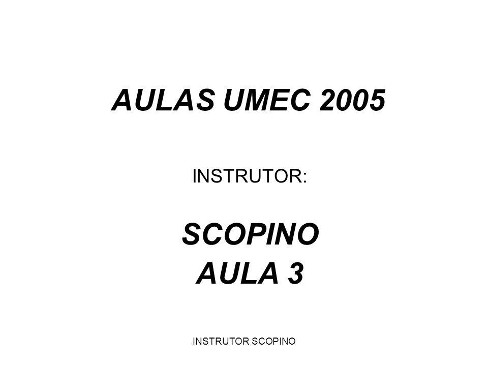 INSTRUTOR SCOPINO AULAS UMEC 2005 INSTRUTOR: SCOPINO AULA 3