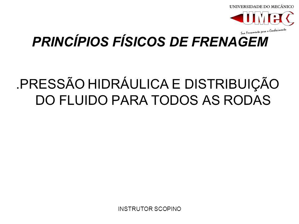 INSTRUTOR SCOPINO PRINCÍPIOS FÍSICOS DE FRENAGEM.PRESSÃO HIDRÁULICA E DISTRIBUIÇÃO DO FLUIDO PARA TODOS AS RODAS